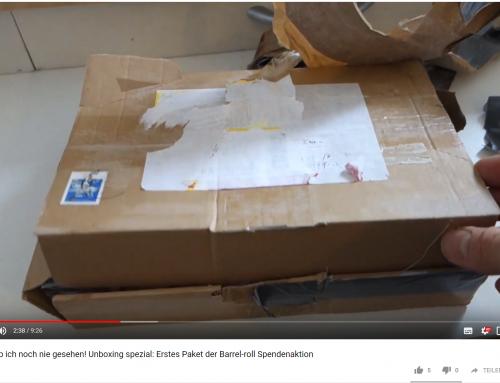 Schau zu, wie ich das erste Paket unserer Barrelroll-Spendenaktion auspacke