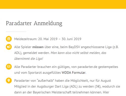 Paradarts Disziplinen bei der Bayerischen Meisterschaft